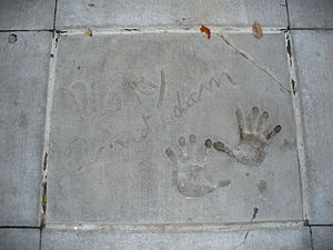 Morey Amsterdam - The handprints of Morey Amsterdam in front of Theater of the Stars at Walt Disney World's Disney's Hollywood Studios theme park