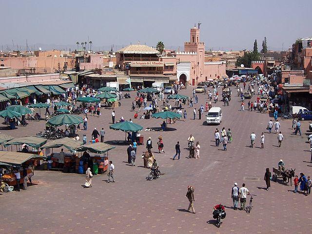 Panorámica de Djemaa el Fna, la plaza principal de Marrakech
