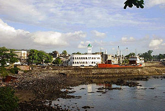 Comoros - Moroni, capital of the Comoros, with Harbor Bay and Central Mosque