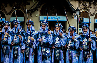 Moros y cristianos - Parade of a Moor filà of the Moros y Cristianos festival in Albacete.