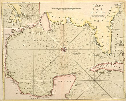 Richard Mount and Thomas Page's 1700 map of the Gulf of Mexico, A Chart of the Bay of Mexico Mount & Page Chart of the Bay of Mexico 1700 UTA.jpg