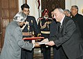 Mr. Mohamed Ali Daher Nsour, Ambassador of Kingdom of Jordon presented his credentials to the President Dr. APJ Abdul Kalam at Rashtrapati Bhavan on 8th December,2005.jpg