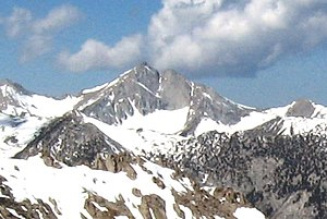 Mount Farquhar - Mount Farquhar's Northeast Face, showing its old namesake notch, from Kearsarge Pass, May 2009.