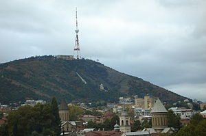 Tbilisi TV Broadcasting Tower - Image: Mt Mtats'minda, Tbilisi, Georgia (view from Metekhi cliff)