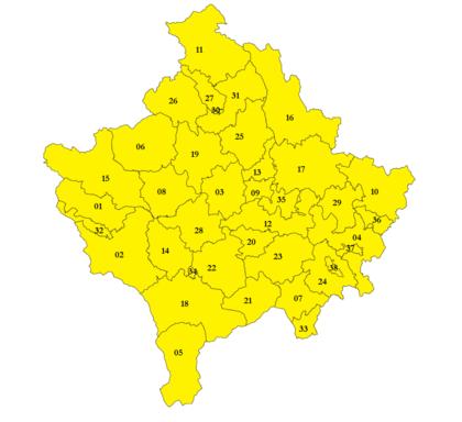 Kaart met gemeenten Kosovo in 2008
