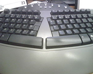 The cool, ergonomic keyboard on my desk