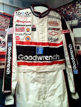 Racing suit - The 2007 racing suit of Formula One driver Fernando Alonso (left), and the 1990s suit of NASCAR driver Dale Earnhardt (right).