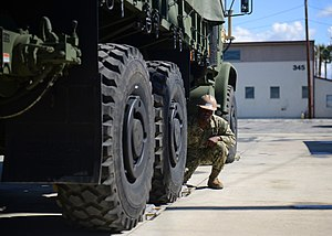Six-wheel drive - Oshkosh MTVR, a six-wheel drive military truck with full-time all-wheel drive and super single tires on all axles