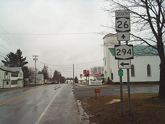 New York State Route 26 - NY 26 at an intersection with NY 294 in West Leyden