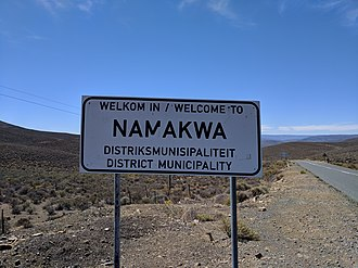 Namakwa District Municipality - A sign along the border of Namakwa with the Western Cape, welcoming drivers coming up R354
