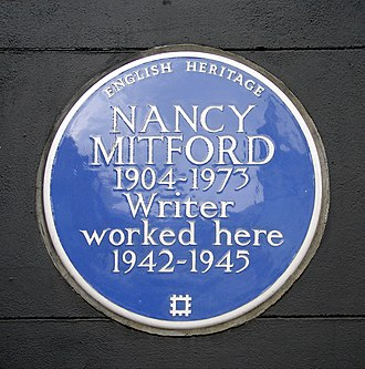 Nancy Mitford - Commemorative plaque at the entrance to the Heywood Hill bookshop, Curzon Street