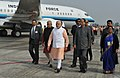 Narendra Modi being received by the Governor of Assam, Nagaland & Tripura, Shri Padmanabha Balakrishna Acharya and the Chief Minister of Assam, Shri Tarun Gogoi, on his arrival at Dibrugarh, Assam on February 05, 2016 (2).jpg