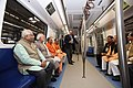 Narendra Modi taking a ride in Metro from Botanical Garden Station to Okhla Bird Sanctuary along with the Governor of Uttar Pradesh, Shri Ram Naik and the Chief Minister, Uttar Pradesh (2).jpg