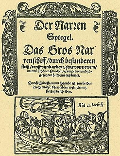 satirical allegory in German verse published in 1494 by Sebastian Brant
