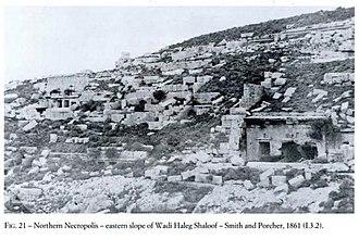 Necropolis of Cyrene - Image: Necropolis of Cyrene tomb entrance Smith Porcher 1861 Wadi Haleg Shaloof