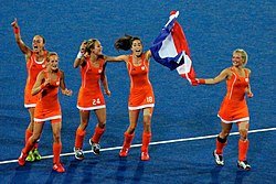Members of the Netherlands women's hockey team at the 2012 Olympics