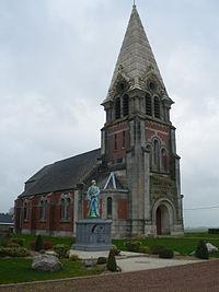 Neuville-Bourjonval - Eglise et monument aux morts.JPG