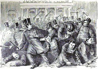 New York City Hall - New York City Municipal and Metropolitan policemen riot and fight each other in front of New York City Hall in 1857.