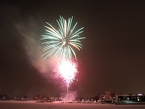 English: The New Year's Eve fireworks in Oulu....