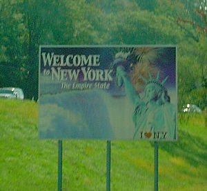 "Numbered highways in New York - A ""Welcome to New York"" sign on I-84 westbound, entering from Connecticut."