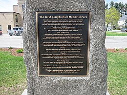 Photo shows a plaque dedicated to Sarah Josepha Hale.