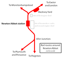A map of the railway lines radiating from Newton Abbot to (clockwise from top left) Moretonhampstead, London, Paignton and Penzance. Not to scale.