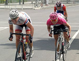 Racing - Two women in a tight sprint finish at the end of the Australia World Cup cycling race