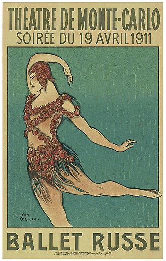 Ballets Russes - Poster by Jean Cocteau for the 1911 Ballet Russe season showing Nijinsky in costume for Le Spectre de la Rose, Paris.