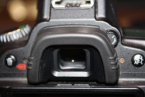 Viewfinder - Built-in viewfinder of a Nikon D90 camera.
