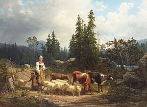 Nils Andersson (painter) - Goatherd with herd and landscape, painting from 1854.