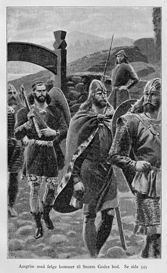 Eyrbyggja saga - An illustrated recreation of Snorri Goði, by Andreas Bloch in 1898, titled Aasgrim follows Snorri Goði to his booth, an event that was featured in the Njáls saga