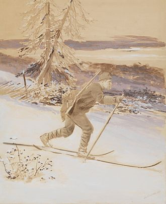 History of skiing - Picture of Fridtjov Nansen used at an exhibit in Germany in 1881 to show what Norwegian skiing was (original created in photo studio).