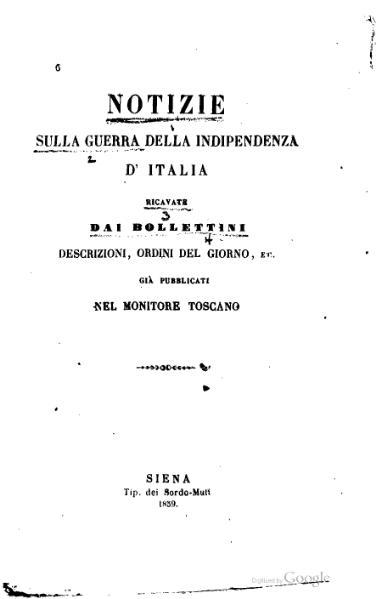 File:Notizie sulla Guerra della Indipendenza d'Italia (Monitore Toscano).djvu
