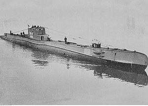 Submarine ORP Orzeł entering the naval base at Hel peninsula, 1930s