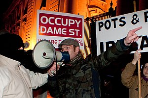 Anti-austerity movement in Ireland - Occupy Dame Street protesting outside Dáil Éireann on Budget Day, 6 December 2011