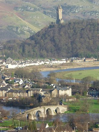 Battle of Stirling Bridge - Old Stirling Bridge with the Abbey Craig and Wallace Monument.
