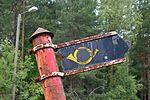 Old post office sign, Vehkajärvi, Finland.jpg