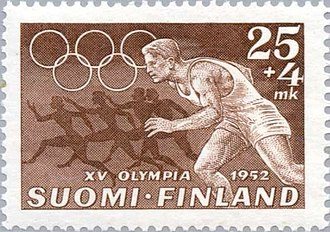 Athletics at the 1952 Summer Olympics - Athletics at the 1952 Summer Olympics on a Finnish stamp