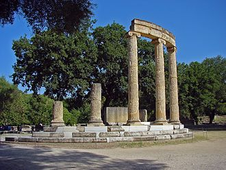 History of Macedonia (ancient kingdom) - The ruins of the Philippeion at Olympia, Greece, which was built by Philip II of Macedon to celebrate his victory at the Battle of Chaeronea in 338 BC