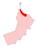 Location of Al Batinah Region in Oman