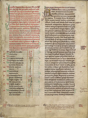 Ralph de Diceto - Opening page from the St Alban's Abbey copy of Ralph's Abbreviationes chronicorum and Ymagines historiarum, featuring a table of the innovative marginal signs he introduced to help index his work