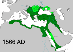 The Ottoman Empire in 1566, at the time of Suleiman the Magnificent's death