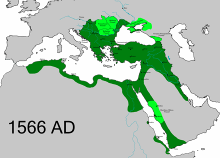 The extent of the Ottoman Empire in 1566, upon the death of Suleiman the Magnificent OttomanEmpire1566.png