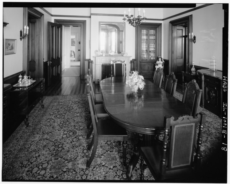 File:Overall view of dining room; looking S. (Ceronie) - Rock Island Arsenal, Building No. 1, Gillespie Avenue between Terrace Drive and Hedge Lane, Rock Island, Rock Island County HABS ILL,81-ROCIL,3-1-18.tif