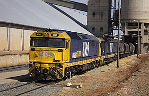 New South Wales 81 class locomotive - Pacific National 8169 and 8137 at Temora in November 2011