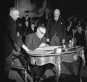 Treaty of Brussels - Bevin, signing the treaty