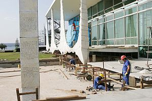 Palácio da Alvorada - Workers during the restoration of the Palácio da Alvorada in 2006.