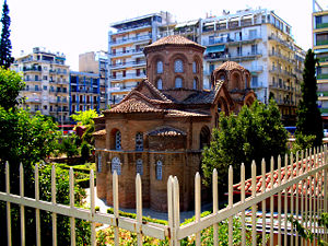 Panagia Chalkeon, an 11th-century cross-in-square church in Thessaloniki. View from the north east.