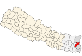 Panchthar District i Mechi Zone (grå) i Eastern Development Region (grå + lysegrå)