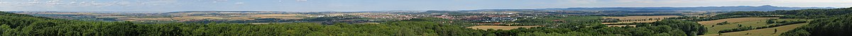 Panoramic view (approximately 290°) from the Bürgertirm near Gotha in Thuringia. The full panoramic view of 360° is prevented by trees on the Krahnberg-Summit